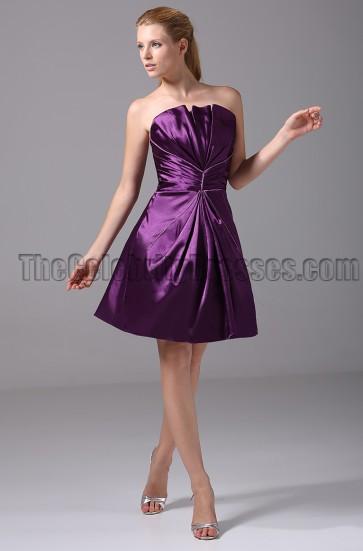 Short Purple Strapless Bridesmaid Graduation Party Dresses