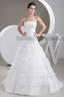 Strapless A-Line Sweep/Brush Train Wedding Dress Bridal Gown