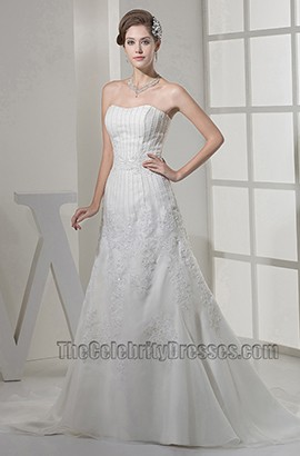 Strapless A-Line Sweetheart Beaded Sweep Brush Train Wedding Dress