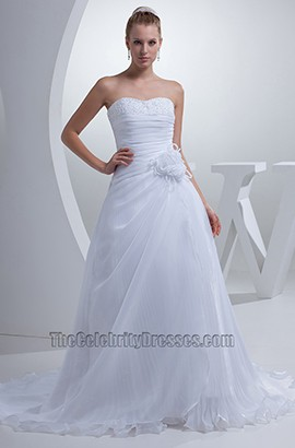 Discount Strapless A-Line Sweetheart Chiffon Wedding Dresses