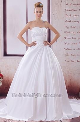 Strapless A-Line Taffeta Chapel Train Wedding Dresses