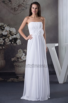 Strapless Chiffon Sweep Brush Train Informal Wedding Dress
