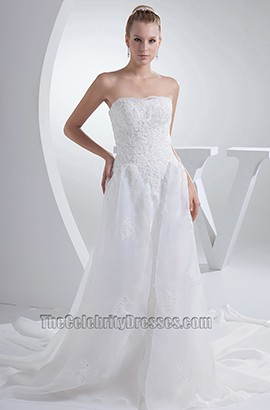 Strapless Embroidery A-Line Chapel Train Wedding Dresses