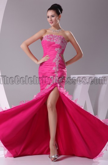 Fuchsia Strapless Mermaid Formal Dress Evening Gown