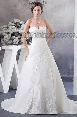 Strapless Sweetheart A-Line Beaded Chapel Train Wedding Dress