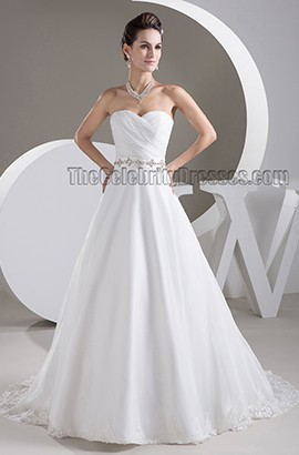 Discount Strapless Sweetheart A-Line Beaded Wedding Dresses