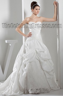 Strapless Sweetheart A-Line Chapel Train Lace Taffeta Wedding Dress
