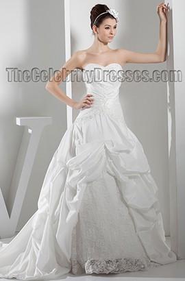 Strapless Sweetheart A-Line Chapel Train Lace Taffeta Wedding Dress
