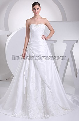 Strapless Sweetheart A-Line Chapel Train Wedding Dresses