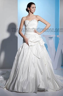 Strapless Sweetheart A-Line Chapel Train Wedding Dresses