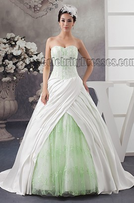 Strapless Sweetheart A-Line Lace And Satin Sweep/Brush Train Wedding Dress