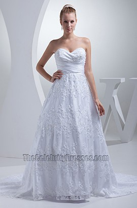 Strapless Sweetheart A-Line Lace Chapel Train Wedding Dress