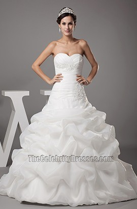 Strapless Sweetheart A-Line Ruffles Organza Wedding Dresses