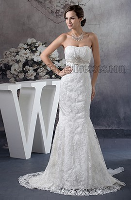 Trumpet /Mermaid Strapless Lace Beaded Wedding Dresses