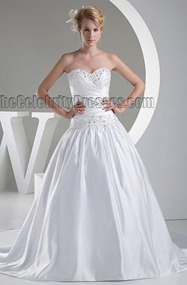 Strapless Sweetheart Beaded Satin Ball Gown Wedding Dress