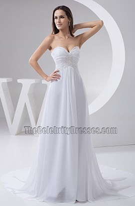 Strapless Sweetheart Chapel Train Chiffon A-Line Wedding Dress