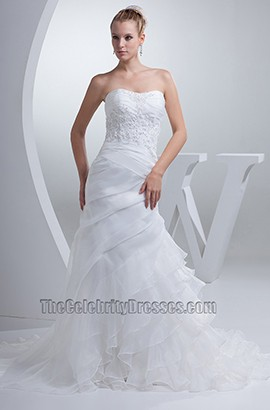 Strapless Sweetheart Embroidery Organza Wedding Dress