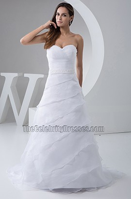 Strapless Sweetheart A-Line Organza Wedding Dresses