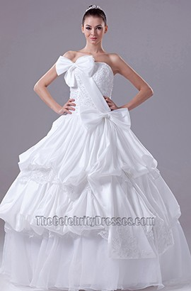 Strapless Taffeta Floor Length Ball Gown Wedding Dress