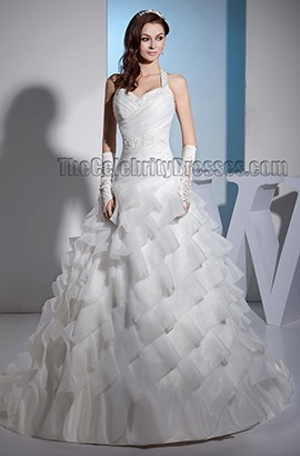 Stunning A-Line Halter Chapel Train Beaded Wedding Dress