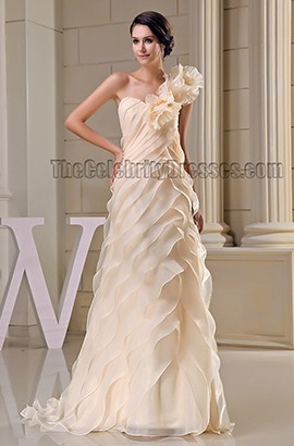 Stunning Champagne One Shoulder Formal Prom Bridesmaid Dresses
