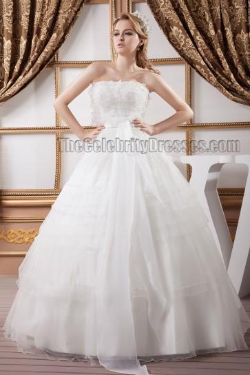 Stunning Floor Length Strapless Organza Ball Gown Wedding Dresses