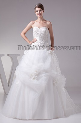 Stunning Strapless Beaded Lace Up Sweetheart Ball Gown Wedding Dress
