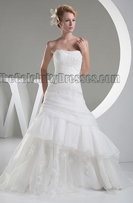 Stunning Strapless Ruffles Chapel Train Lace Up Wedding Dress
