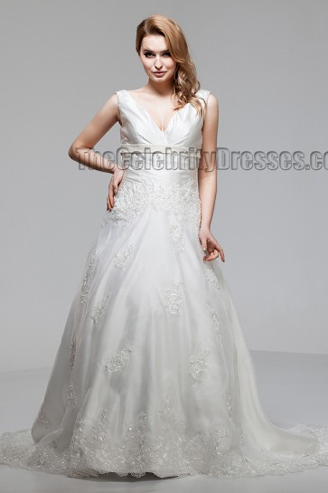 Sweep/Brush Train A-Line V-Neck Wedding Dresses