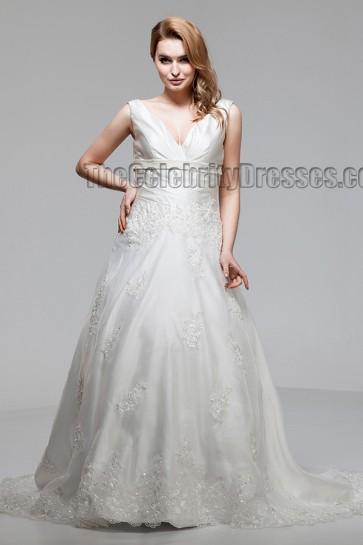 Sweep/Brush Train A-Line V-Neck Wedding Dresses