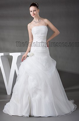 Sweep/Brush Train Strapless Organza A-Line Wedding Dress