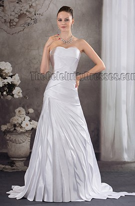 Sweep/Brush Train Strapless Sweetheart Ruffles Bridal Gown Wedding Dress