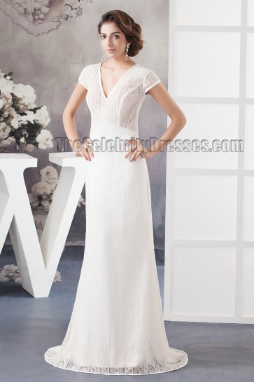 Sweep/Brush Train V-Neck Lace Sheath/Column Bridal Gown Wedding Dress