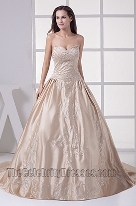 Sweetheart A-Line Strapless Chapel Train Wedding Dress With Beading