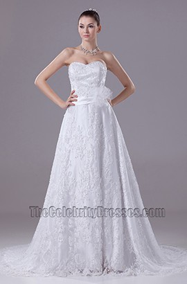 Sweetheart A-Line Strapless Embroidery Wedding Dresses