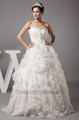 Sweetheart A-Line Strapless Ruffles Full Length Wedding Dress