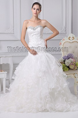 Sweetheart Lace Organza Lace Up Back Wedding Dress