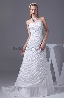 Sweetheart Strapless A-line Chapel Train Taffeta Wedding Dress