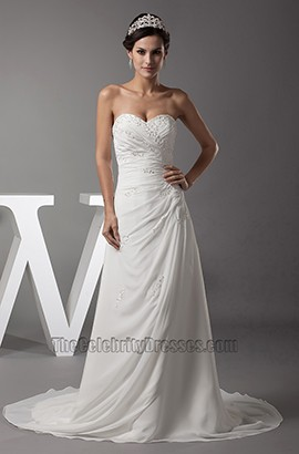 Sweetheart Strapless A-Line Chiffon Wedding Dress Bridal Gown