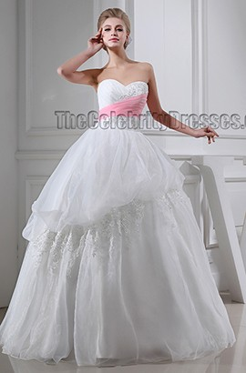 Sweetheart Strapless Ball Gown Floor Length Wedding Dress