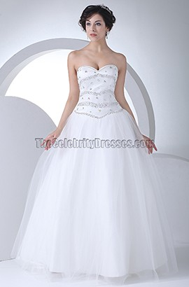 Sweetheart Strapless Beaded Floor Length A-Line Wedding Dress