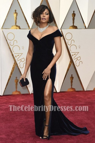 Taraji P. Henson Dark Navy Off-the-Shoulder Formal Dress 2017 Academy Awards TCD7156
