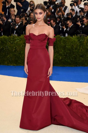 TAYLOR HILL 2017 MET Gala Burgundy Off-the-Shoulder Evening Dresses TCD7279