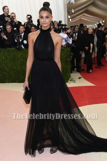 Taylor Hill Black Halter Evening Dress 2016 MET Ball TCD6668