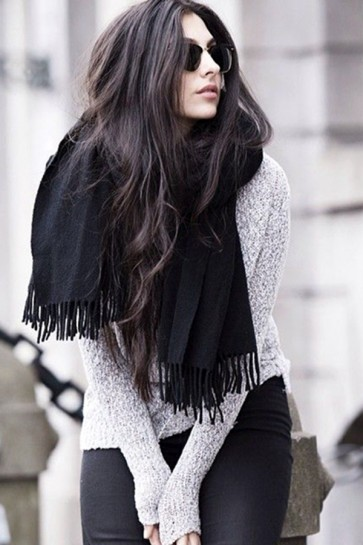 Chic Plaid Scarf Autumn And Winter Big Black Cashmere Shawl TCDS004
