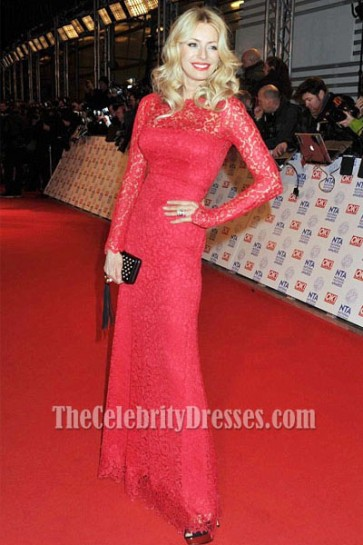 Tess Daly Red Lace Prom Dress 2013 National Television Awards