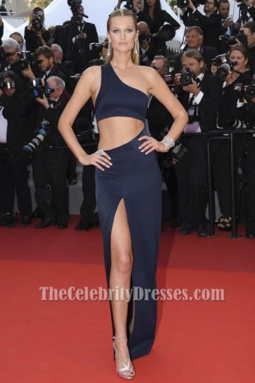 Toni Garrn 2017 Cannes Film Festival Sexy Cut Out Evening Dress TCD7259