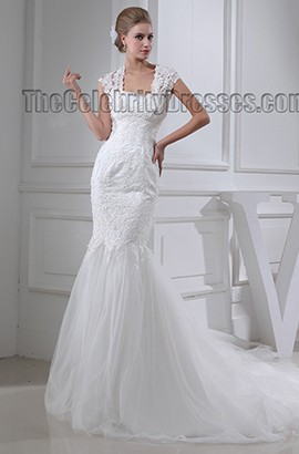 Trumpet/Mermaid Cap Sleeves Chapel Train Wedding Dresses