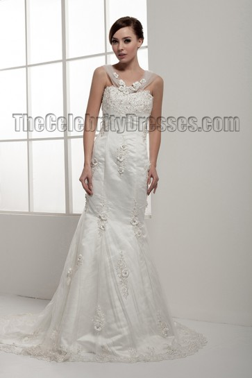 Trumpet/Mermaid Embroidered Tulle Wedding Dresses