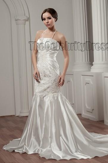 Trumpet /Mermaid Halter Embroidered Chapel Train Wedding Dress